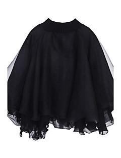 Envelopper Aux femmes,Mosaïque Sortie Chic de Rue Printemps Manches Longues Col Arrondi Blanc / Noir Coton Fin