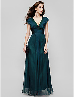 TS Couture® Formal Evening / Military Ball Dress - Vintage Inspired / Elegant Plus Size / Petite A-line V-neck Floor-length Chiffon with Draping
