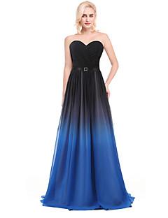 Vestido - Prateado / Multi-Côr / Azul Oceano Festa de Coquetel De Baile Decote V Longo Chiffon / Charmeuse