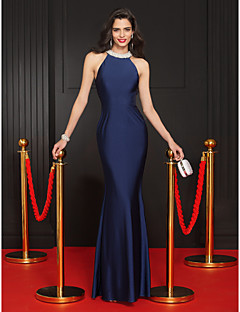 Mermaid / Trumpet Jewel Neck Floor Length Jersey Prom Formal Evening Dress with Beading by TS Couture®