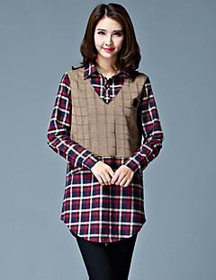 Women's Geometric Multi-color Shirt , Shirt Collar Long Sleeve