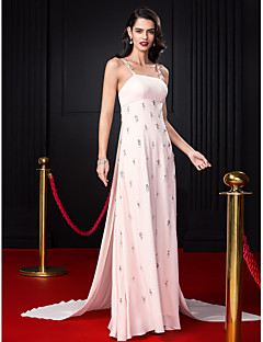 TS Couture® Formal Evening Dress A-line Spaghetti Straps Court Train Chiffon with Beading / Crystal Detailing