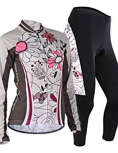 Nuckily חולצה וטייץ לרכיבה בגדי ריקוד נשים שרוול ארוך אופניים ג'רזי מדים בסטיםעמיד עיצוב אנטומי חדירות ללחות רוכסן קדמי תיק קטל מובנה