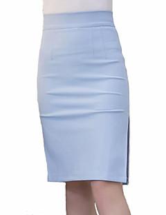 Mulheres Saias Altura dos Joelhos Plus Sizes / Trabalho Poliéster Micro-Elástica Mulheres