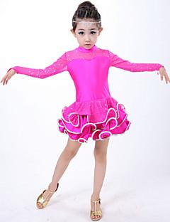 Taniec latynoamerykański Suknie Dla dzieci Wydajność Spandex Drapowana 1 sztuka Długi rękaw Naturalny SukienkiS:52cm M:60cm L:62cm
