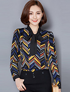 Women's Patchwork Multi-color Blouse , Bow Long Sleeve