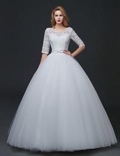 A-라인 웨딩 드레스 바닥 길이 스쿱 레이스 / 튤 와 레이스