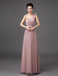 Floor-length Tulle Bridesmaid Dress Sheath / Column One Shoulder with Bow(s)