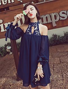 여성의 솔리드 홀터 넥 민소매 블라우스,스트리트 쉬크 캐쥬얼/데일리 블루 / 레드 폴리에스테르 중간