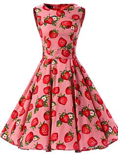 여성 스윙 드레스 데이트 빈티지 플로럴,라운드 넥 무릎길이 민소매 면 사계절 중간 밑위 신축성 없음 중간