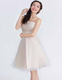 Knee-length Organza / Satin Bridesmaid Dress A-line Strapless with Beading / Bow(s)