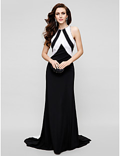 Formal Evening Dress - Plus Size / Petite Sheath/Column Jewel Sweep/Brush Train Satin Chiffon