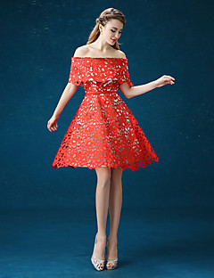 Cocktail Party Dress - Ruby A-line Off-the-shoulder Knee-length Satin / Tulle