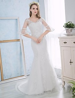 Trumpet / Mermaid Wedding Dress Court Train Sweetheart Lace / Satin with Appliques / Lace