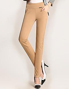 Eenvoudig-Polyester / Spandex-Rekbaar-Skinny-Broek-Vrouwen