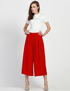Mulheres Calças Casual / Simples Largas Poliéster Sem Elasticidade Mulheres