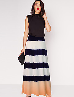 Women's Striped Pink / Orange Skirts,Street chic Maxi
