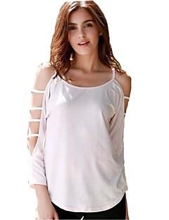 Tre-kvart ermer T-skjorte U-hals Uthult Bomull / Polyester Kvinner