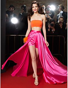 TS Couture Formal Evening Dress - Multi-color A-line Strapless Sweep/Brush Train Chiffon / Charmeuse
