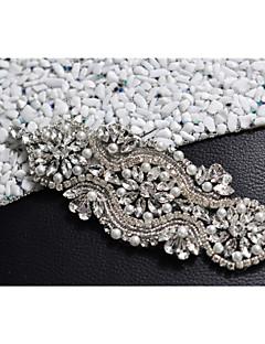 Satin Wedding / Party/ Evening / Dailywear Sash - Beading / Pearls / Crystal / Rhinestone Women's Sashes/Without Ribbons