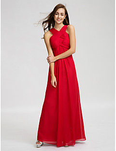 Sheath / Column V-neck Floor Length Chiffon Bridesmaid Dress with Draping Criss Cross Ruching by LAN TING BRIDE®