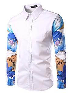 Men's Print Casual Shirt,Cotton Long Sleeve Black / Red / White