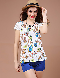 Women's Slim Lace Stitching Cartoon Printing White T-shirt,Round Neck Short Sleeve