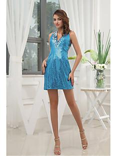 Cocktail Party Dress-Pool Sheath/Column V-neck Short/Mini Sequined