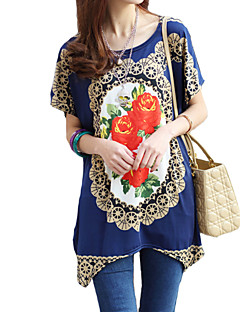 Women's Floral Blue T-shirt,Round Neck Short Sleeve