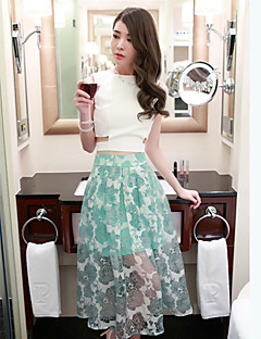Boutique S  Women's Patchwork Green Skirts,Sexy Midi
