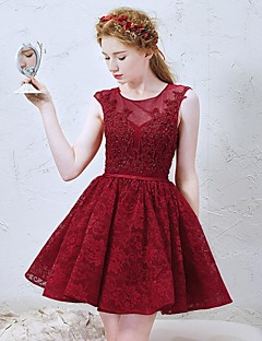 Cocktail Party Dress-Burgundy A-line Jewel Short/Mini Lace