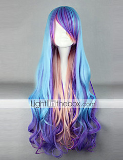 lolita pruik geïnspireerd door blauw en paars en roze gemengde kleur punker