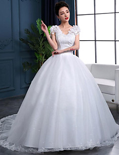 Ball Gown Wedding Dress Chapel Train V-neck Lace / Organza / Satin with Lace / Ruffle / Sequin