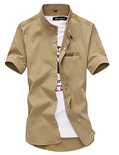JISNEYMen's Short Sleeve Shirt,Cotton Casual / Work / Formal / Plus Sizes Solid