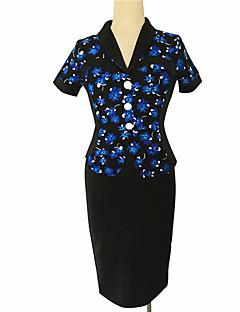 여성의 빈티지 / 스트리트 쉬크 A 라인 / 바디콘 드레스 플로럴 무릎길이 V 넥 면 / 폴리에스테르