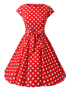 Women's Bow Cap Sleeves Red Black Purple Polka Dot Dress , Vintage Cap Sleeves 50s Rockabilly Swing Dress