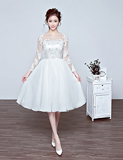 Cocktail Party Dress A-line Jewel Knee-length Chiffon / Tulle with Appliques