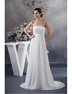 포멀 이브닝 드레스 A-라인 끈없는 스타일 스윕 / 브러쉬 트레인 쉬폰 와 드레이핑
