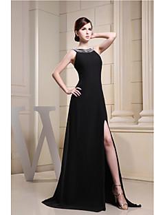 저녁 정장파티 드레스-블랙 A-라인 스윕/브러쉬 트레인 스쿱 쉬폰