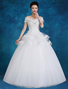 Ball Gown Wedding Dress-White Floor-length Bateau Lace / Tulle / Sequined