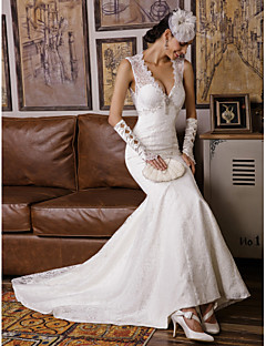 Trumpet/Mermaid Wedding Dress - Ruby / Ivory Sweep/Brush Train V-neck Lace