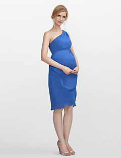 Knee-length Chiffon Bridesmaid Dress Sheath / Column One Shoulder with Crystal Detailing