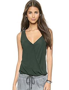 Tee-shirt Aux femmes Dos Nu Sans Manches Col en V Coton