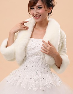 Wedding / Party/Evening Faux Fur Capelets 3/4-Length Sleeve Wedding  Wraps / Fur Vests / Hoods & Ponchos