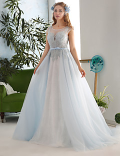 Ball Gown Wedding Dress Court Train Jewel Lace / Tulle / Sequined with Beading / Bow / Crystal / Lace / Pattern / Sash / Ribbon