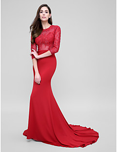 TS Couture® Formal Evening Dress Trumpet / Mermaid Jewel Court Train Tulle / Jersey with Appliques