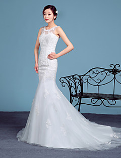Trumpet/Mermaid Wedding Dress - White Court Train Scoop Lace / Tulle