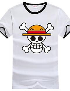 Inspirovaný One Piece Monkey D. Luffy Anime Cosplay kostýmy Cosplay T-shirt Tisk Biały Krátké rukávy Trička