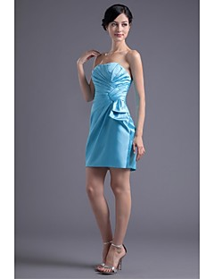 Lanting Bride® Short / Mini Stretch Satin Bridesmaid Dress Trumpet / Mermaid Strapless with Side Draping