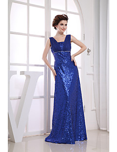 Formal Evening Dress Sheath / Column Straps Floor-length Chiffon / Sequined with Beading / Draping